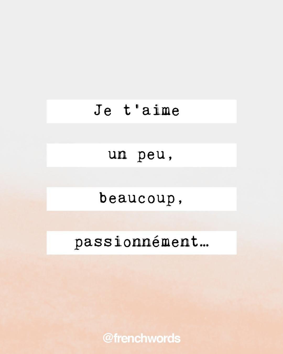 """Serie Je T'aime Un Peu Beaucoup : serie, t'aime, beaucoup, French, Words, Instagram:, """"Je, T'aime, Beaucoup,, Passionnément…, Little,, Passionately, /ʒə, T‿ɛm, Words,"""