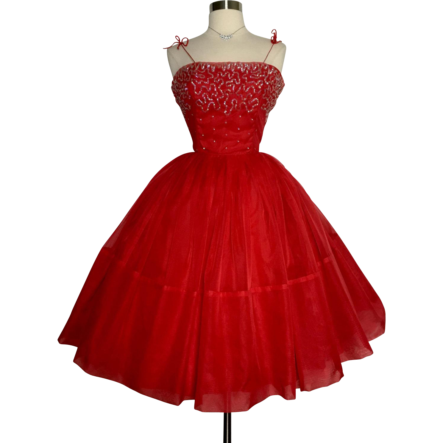 Romantic Red 50S Dress Features Include * Romantic Silhouette *