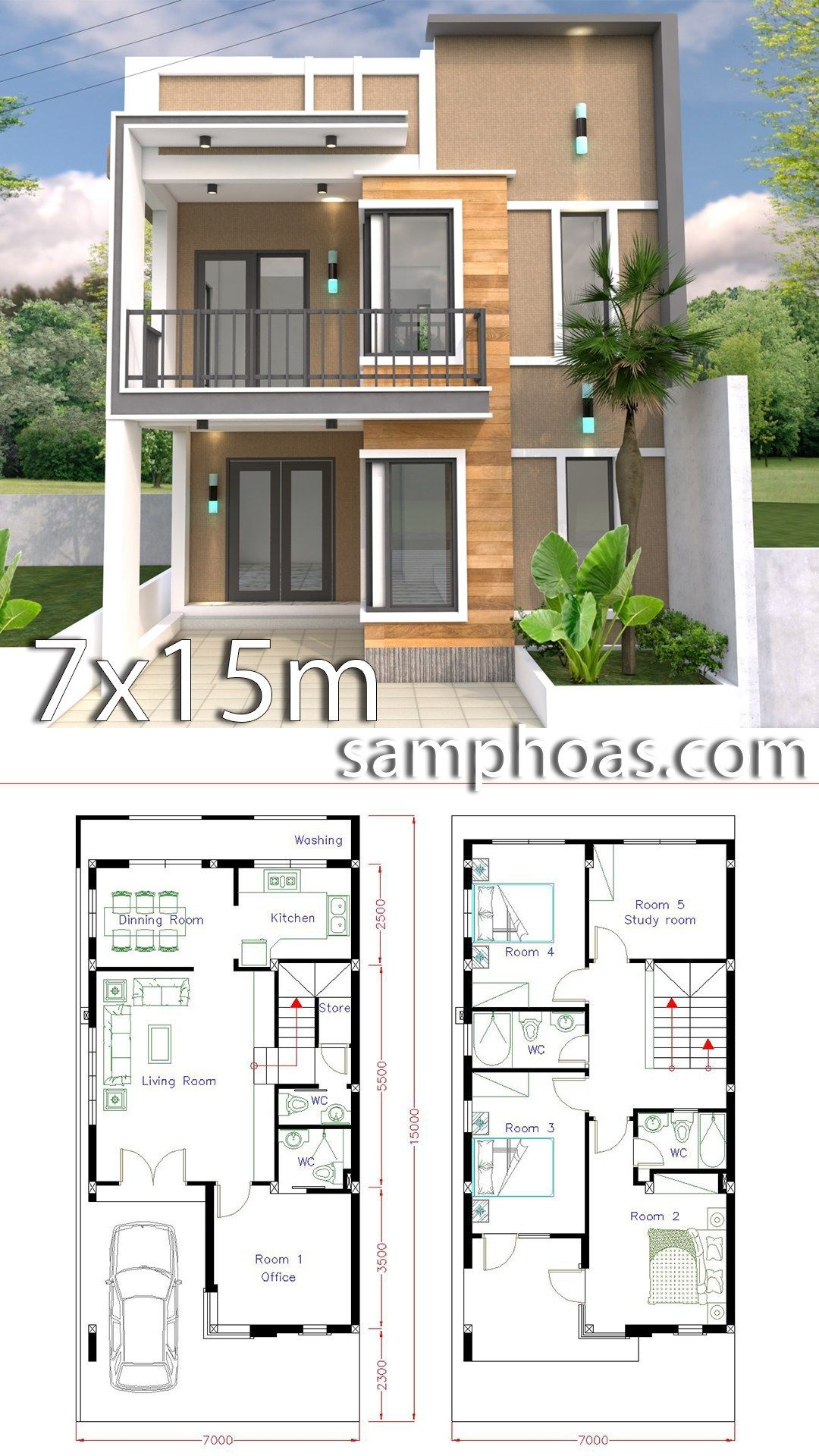 Home Design Plan 7x15m With 5 Bedrooms Samphoas Plansearch Duplex House Design Home Design Plan Duplex House Plans