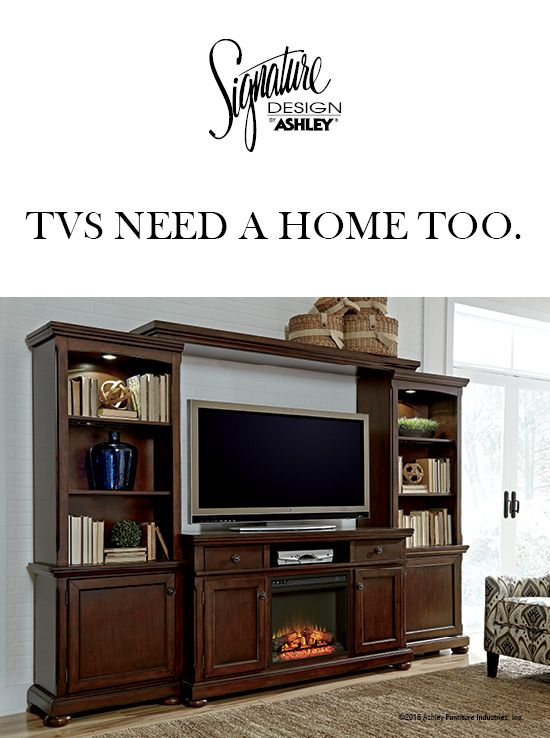 Tvs Need A Home Too Porter Tv Stand Entertainment Wall Ashley Furniture Ashleyfurniture And Accessories
