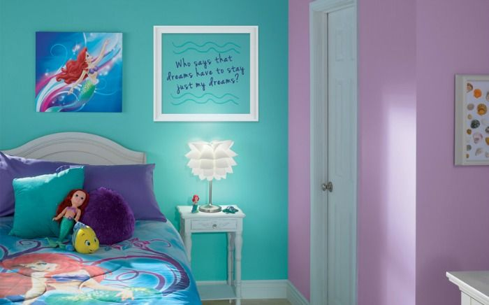 A mom asks her daughters to select colors for their new room  They choose  teal and purple and she does THIS  Little Mermaid. A mom asks her daughters to select colors for their new room  They