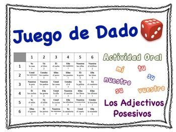 spanish possessive adjectives speaking activity for small groups small groups group and spanish. Black Bedroom Furniture Sets. Home Design Ideas