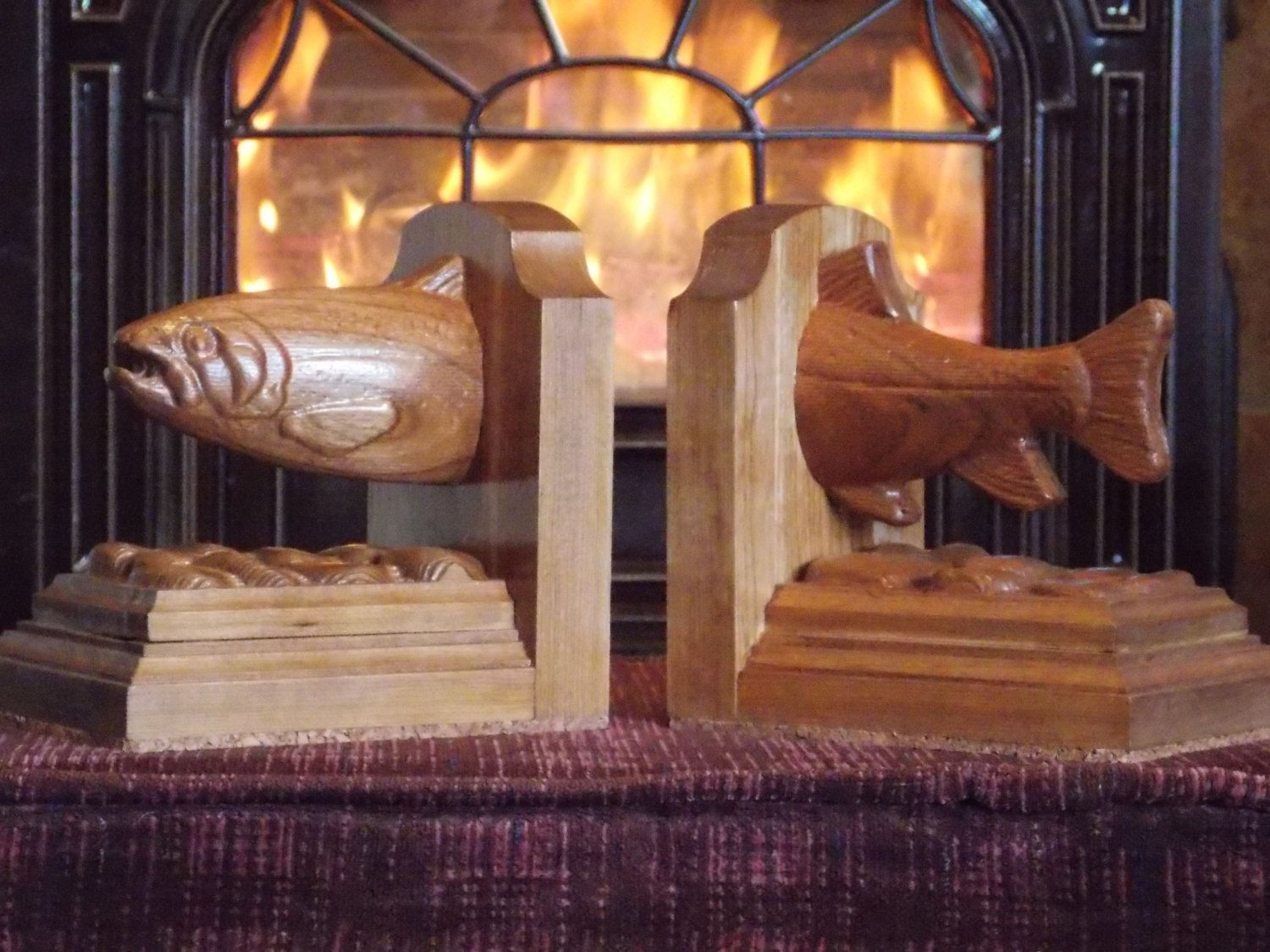 Trout Bookends ~ Wood Bookends ~ Fishing Decor ~ Rustic Home Decor ~ Cabin ~ Lake ~ Gift ~ Wood Carving by TheWoodGrainGallery - pinned by pin4etsy.com