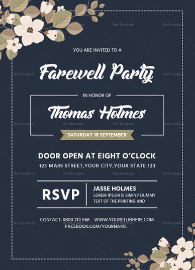 Farewell Party Invitation Card Template Design Flyer