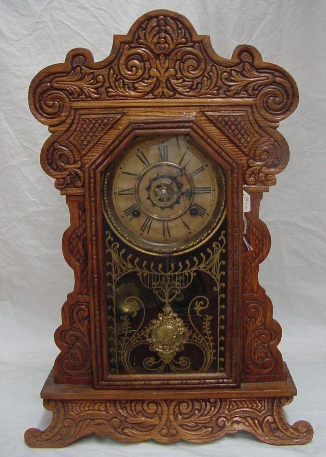 wooden kitchen clock buffet furniture oak waterbury on antique pinterest