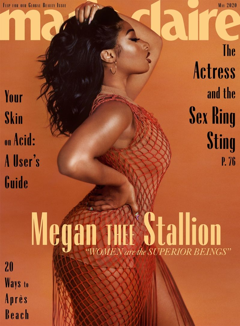 Megan Thee Stallion Takes The Spotlight For Marie Claire In 2020 Marie Claire Magazine Stallion Female Rappers