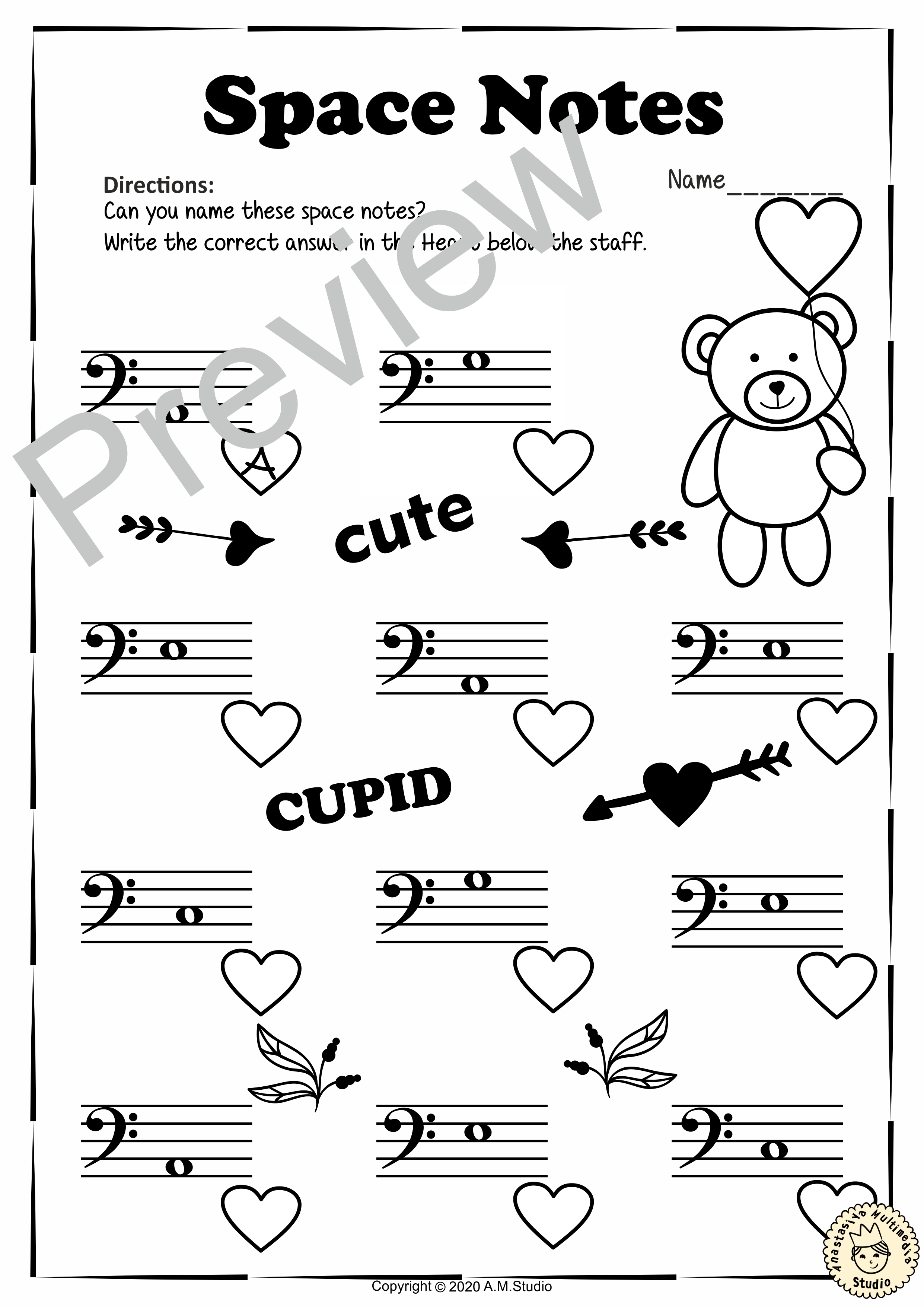 Valentine S Day Bass Clef Note Reading Worksheets In