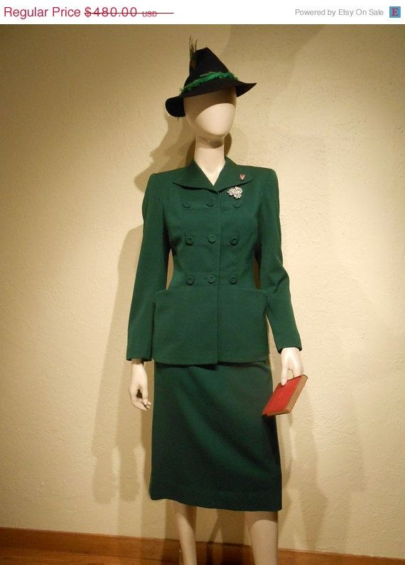 A Call To Arms 1940s Ww2 Dark Green Gabardine Suit W Faux Military