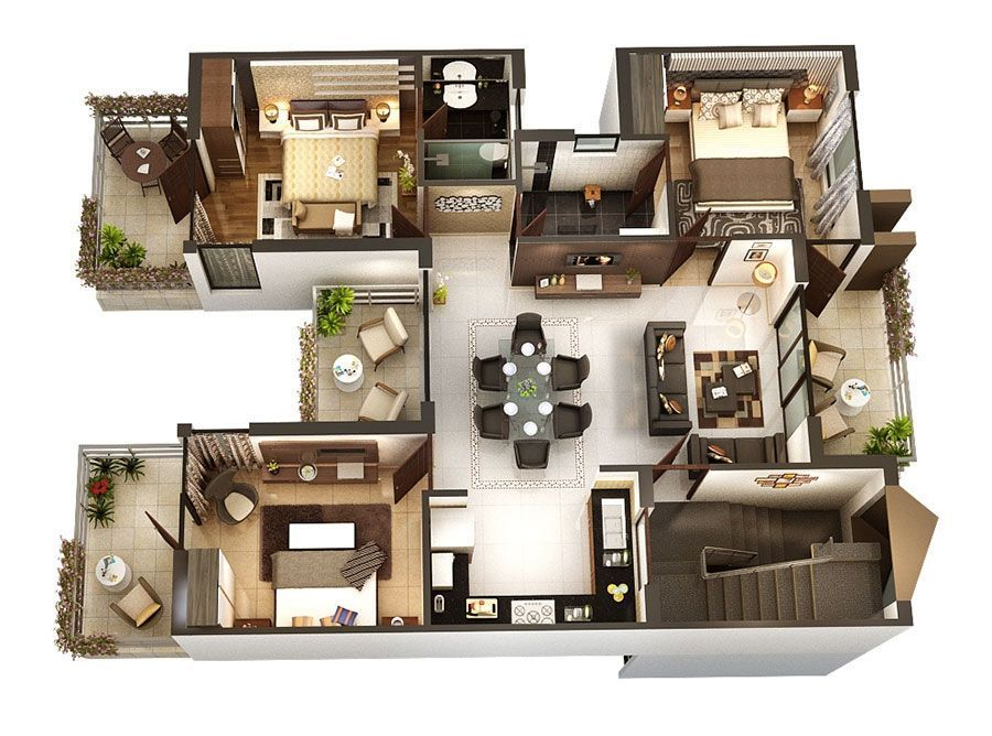 10 3D plans to fit out a 3 bedroom house in 2020 3d