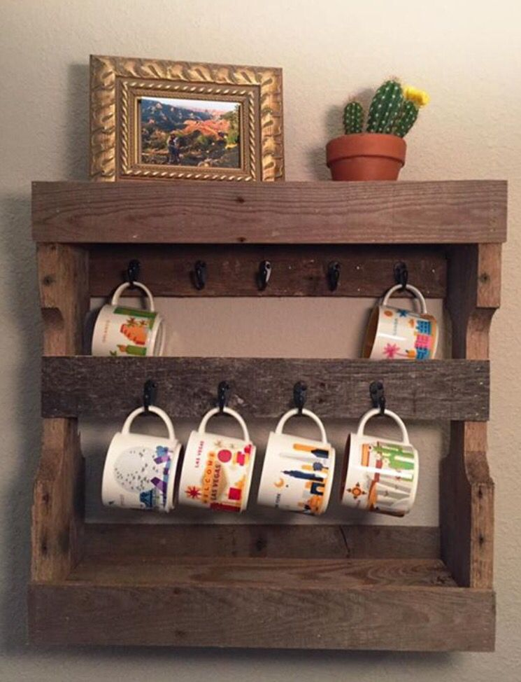 Coffee mug rack i made using pallet wood for the starbucks for Mug racks ideas
