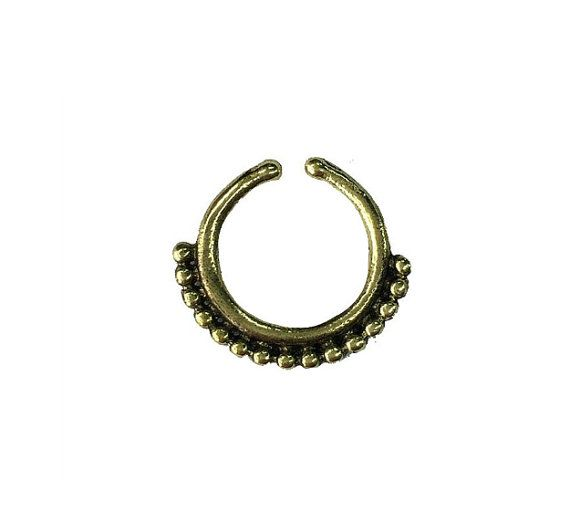 Faux septum Fake nose piercing Tribal jewelry   Faux by NELAJAPAN