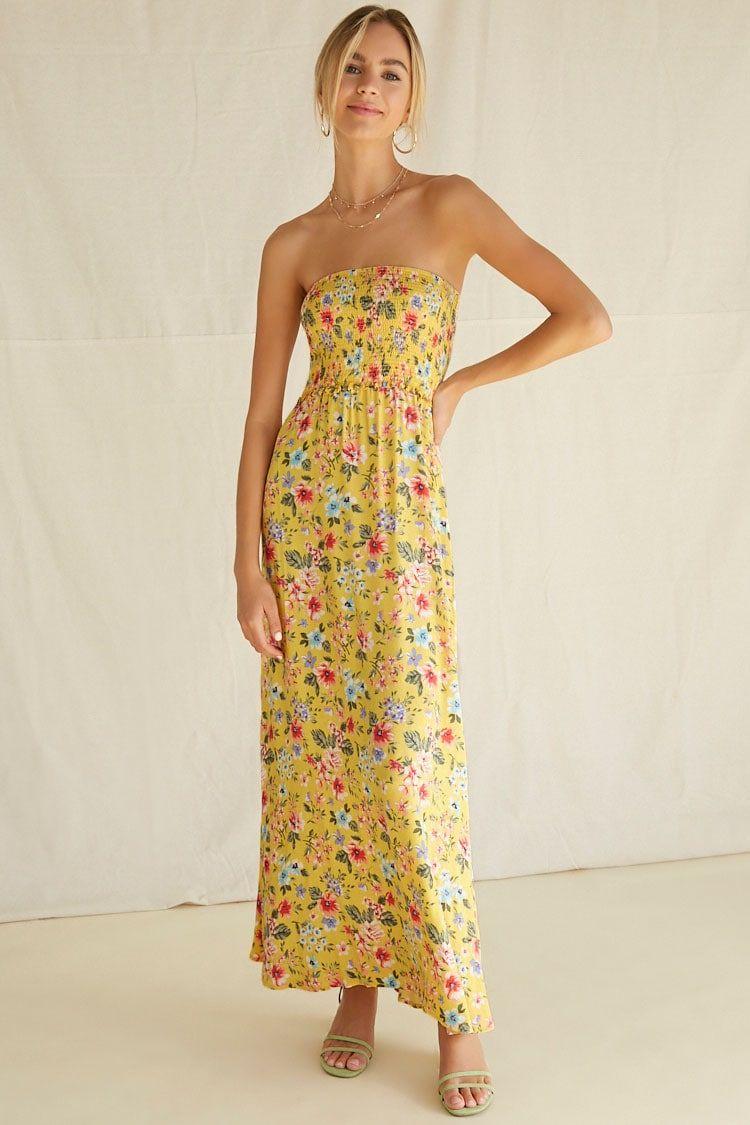 Floral Smocked Bodice Maxi Dress Forever 21 Tube Maxi Dresses Maxi Dress Strapless Casual Dress [ 1125 x 750 Pixel ]