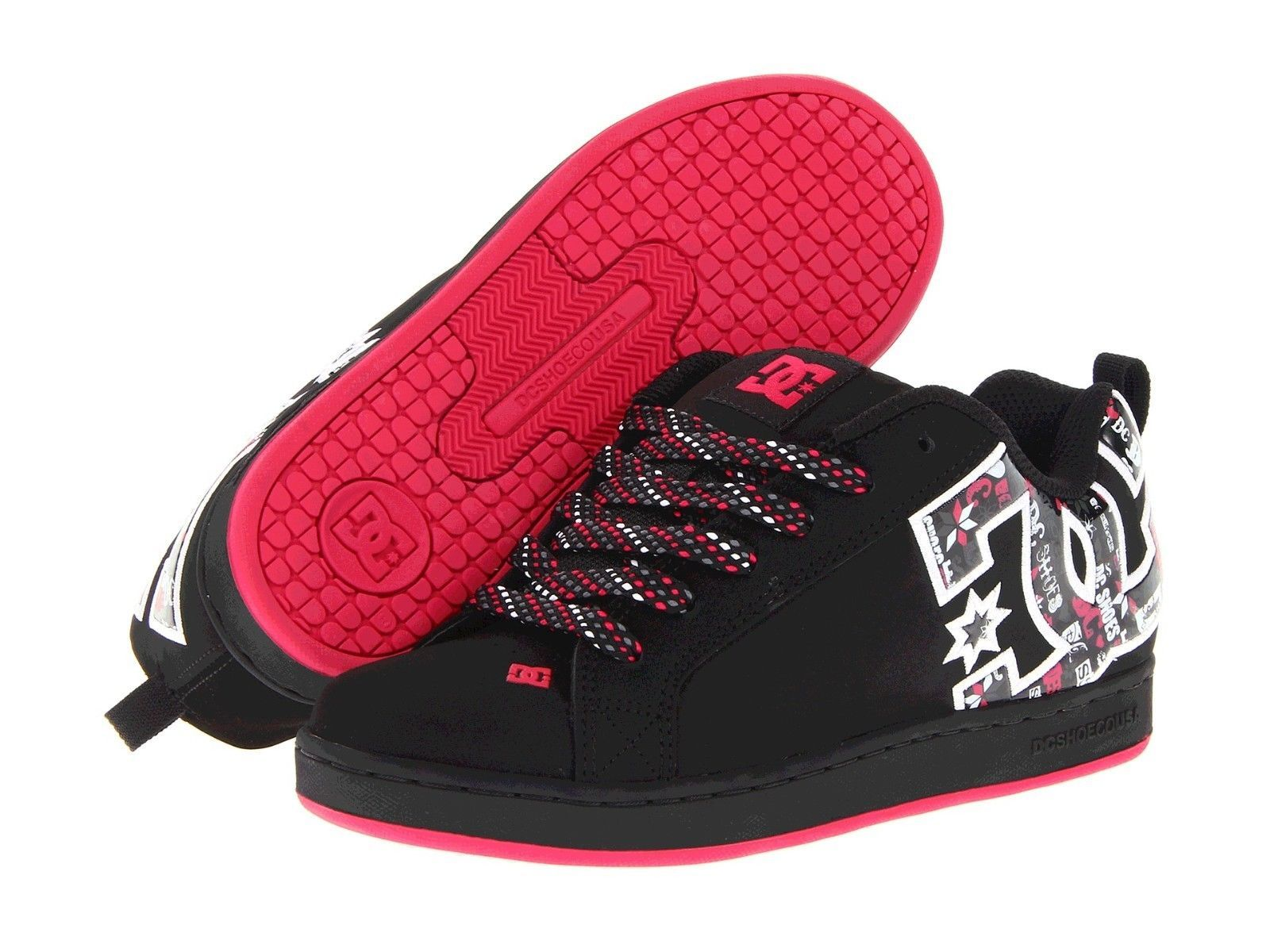 Skate shoes size 9 - Dc Womens Girls Graffik Se Skateboarding Shoes Bmx Black Red Size 9