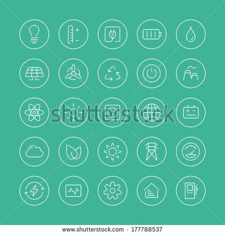 Flat thin line icons modern design style vector set of power