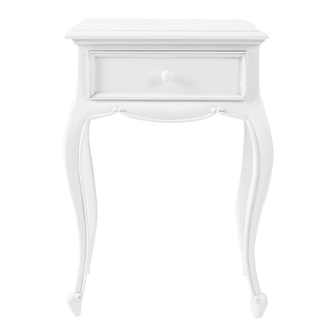 White bedside table - Amelie French White Bedside Cabinet