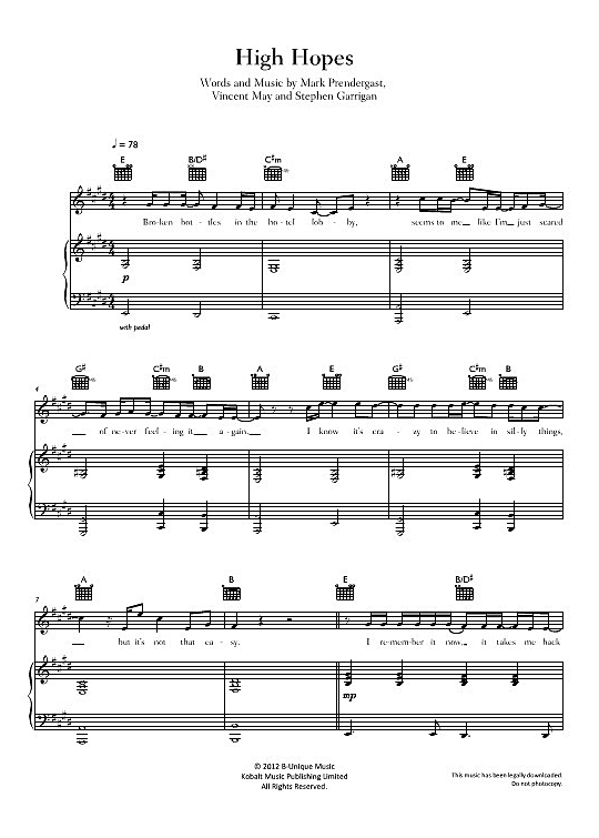 pink floyd high hopes piano pdf