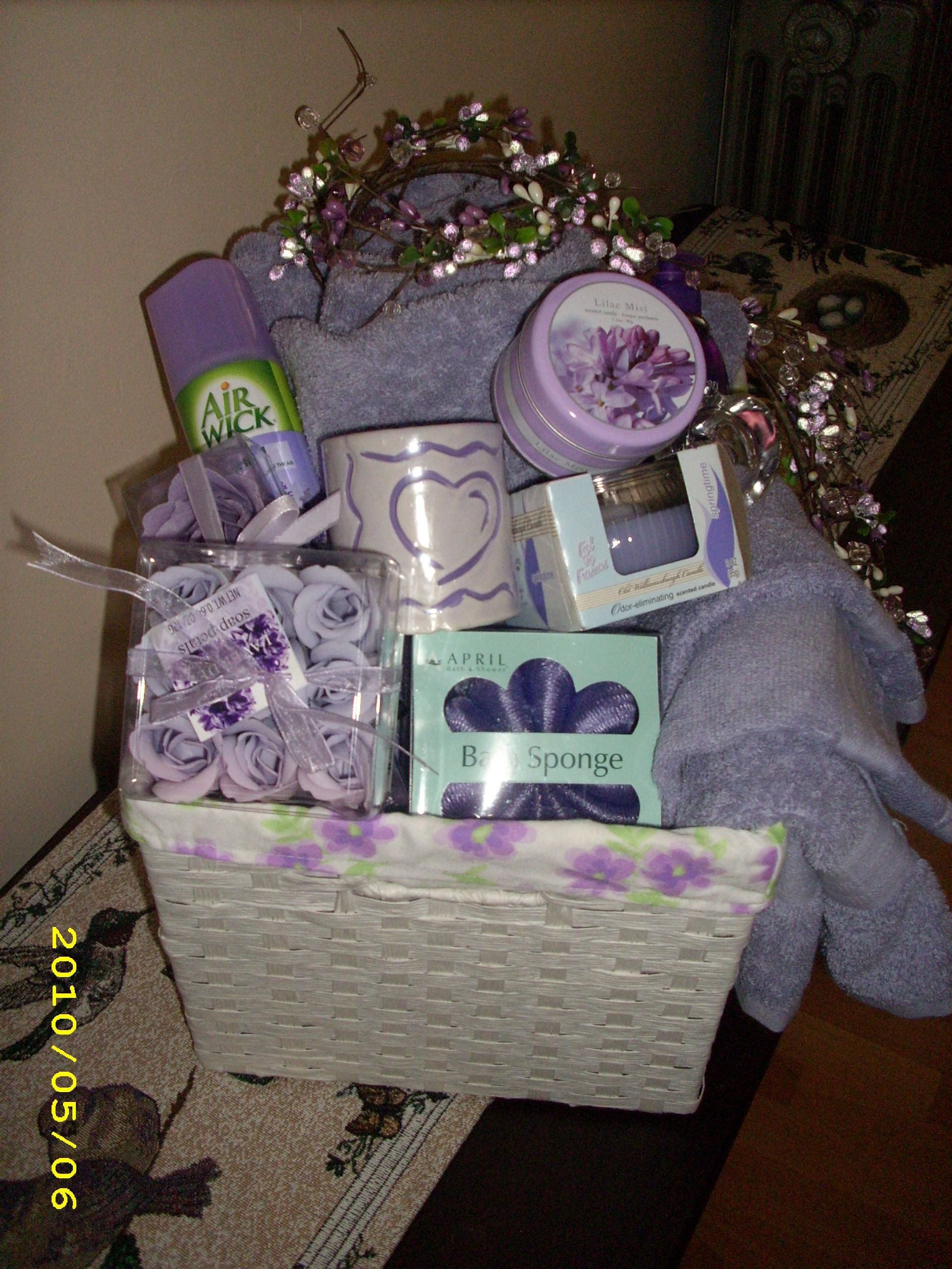 bridal shower basket bathroom themed