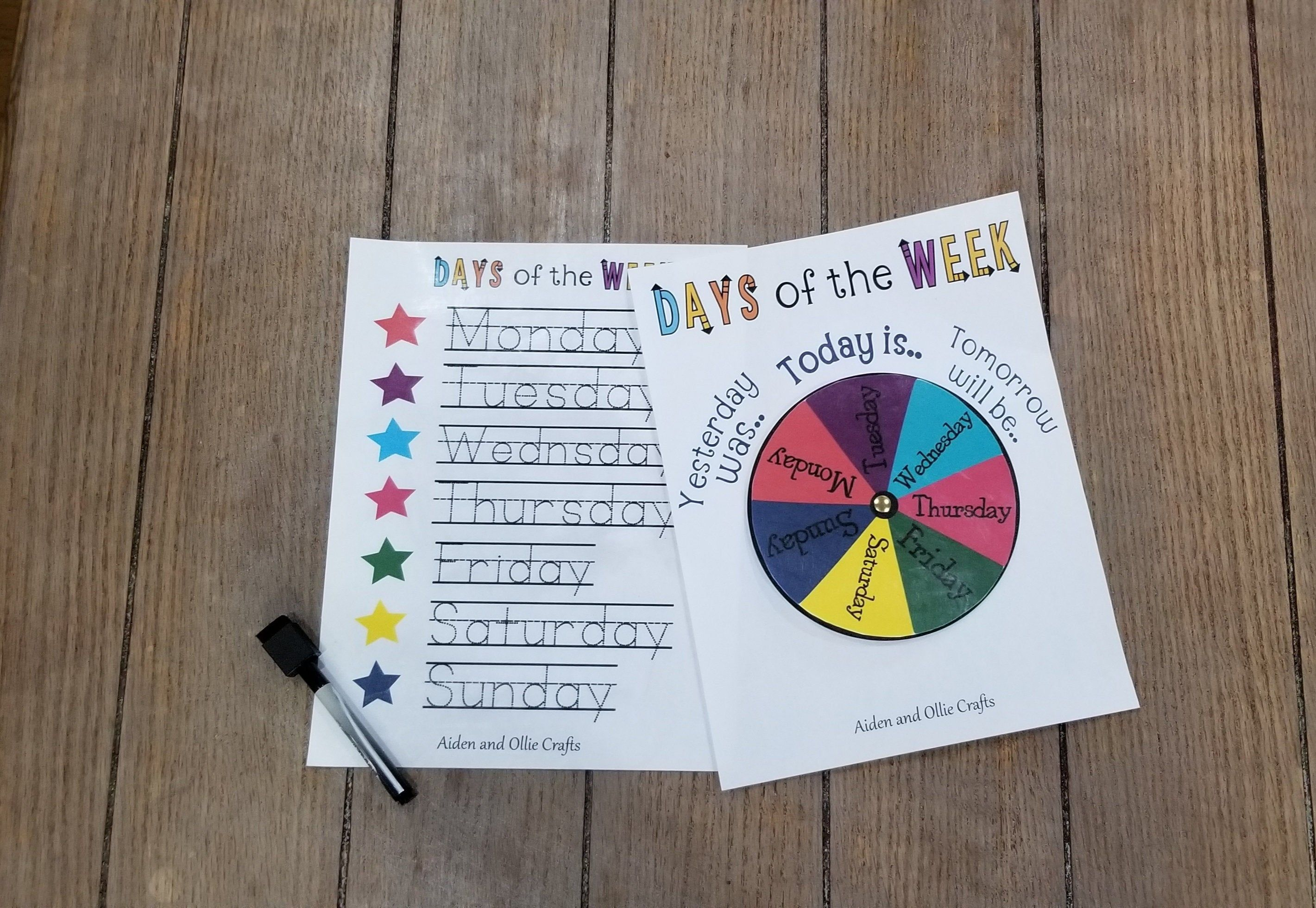 Matching Days Of The Week Wheel And Tracing Printable