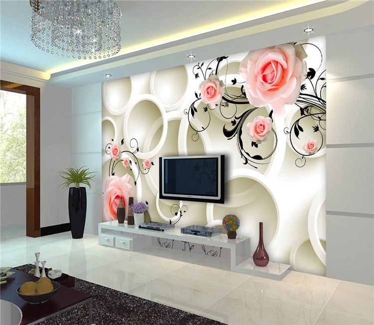 3d Italian Design Pink Flower And Milk Circle 3d Wallpaper Murlas For Home Decor View 3d Italian Design Wallpape Clful Product Details From Guangzhou Magic Co Home Decor Home Wallpaper 3d