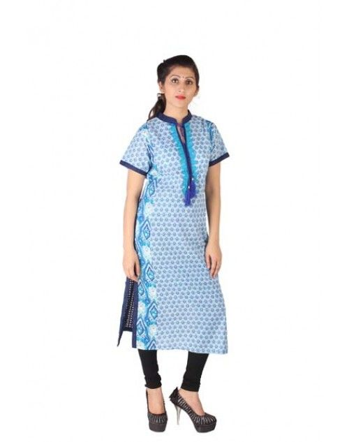 Cotton Suit with Embroidery on Neck and Blue Back