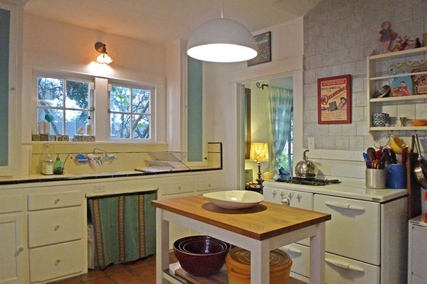 Spanish Cottage-Beachwood Canyon with original kitchen tile and cabinets Slab drawers shaker & Spanish Cottage-Beachwood Canyon with original kitchen tile and ...