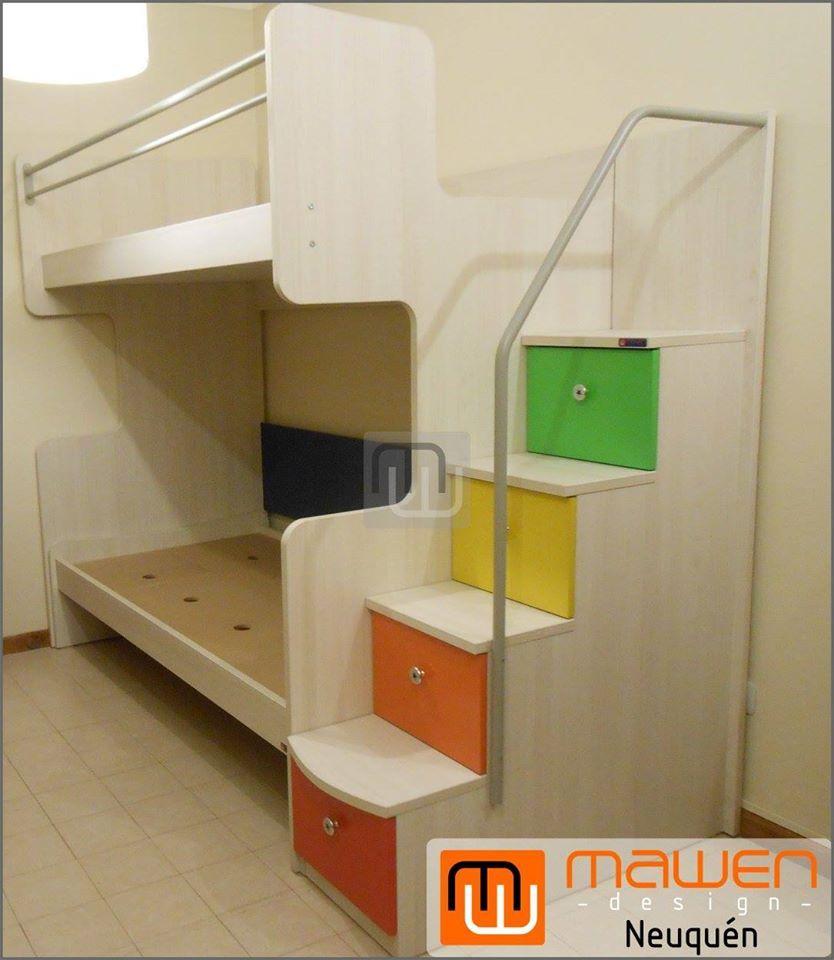 Cama Cucheta Alta Corte C Con Baranda Doble Y Escalera Con 4  ~ Escaleras Infantiles Para Camas Altas