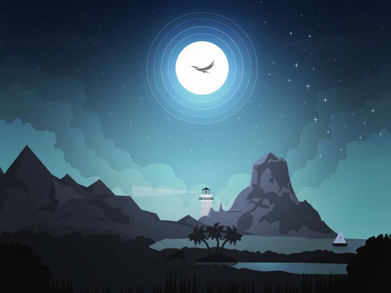 "Good Night!   (no words - ""Dribbble - Night by Arslan Ali"")"
