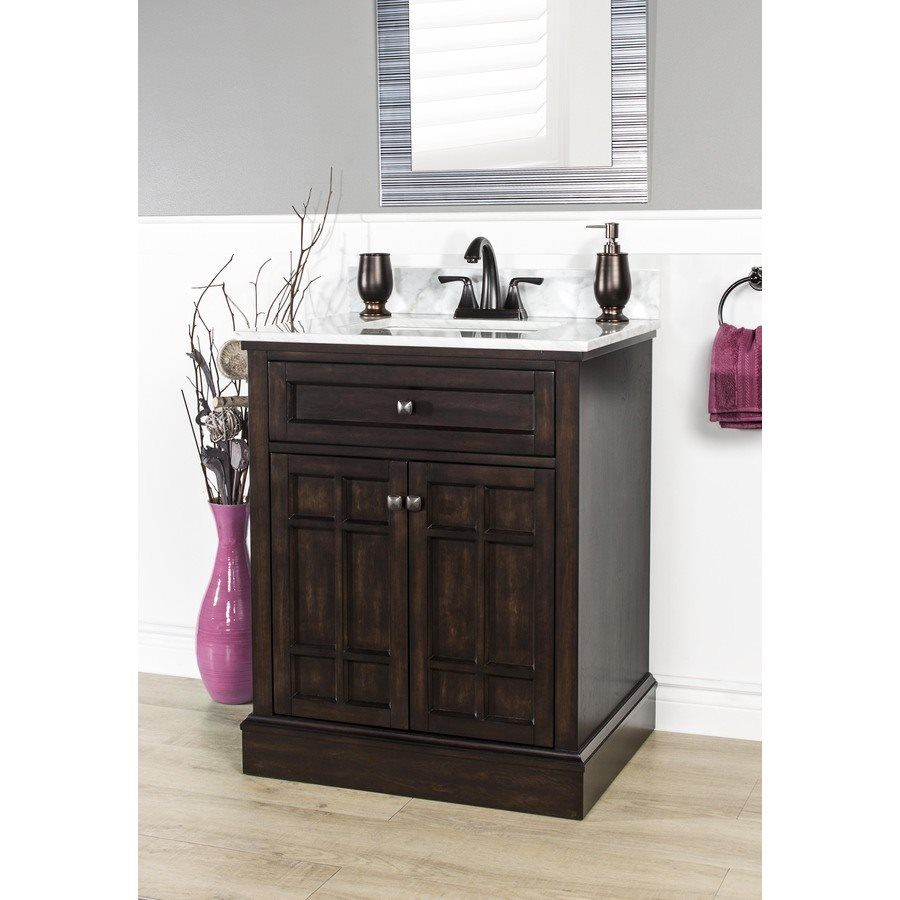 Shop Foremost 28 In X 22 In Blaire Undermount 1 Birch Poplar Bathroom Vanity With Natural Marble Top A Bathroom Cabinets Diy Simple Bathroom Bathroom Cabinets