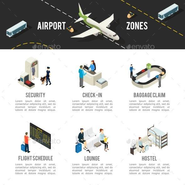 Isometric Airport Zones Template Airport Design