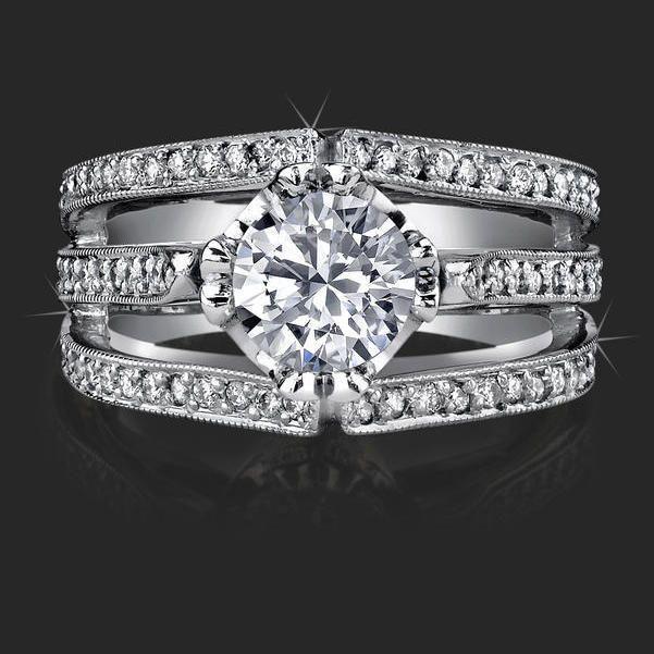 5 Unique Double 4 G Wide Band Triple Split Engagement Ring Topview