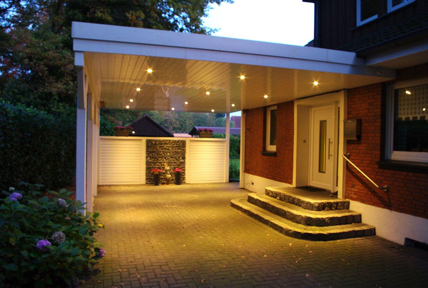 Ein Carport Mit Led Beleuchtung Wird Immer Belieber Es Verleiht Dem Carport Ein Besonderes Aussehen Und Verhilft Zu E Hauseingang Uberdachung Hauseingang Haus