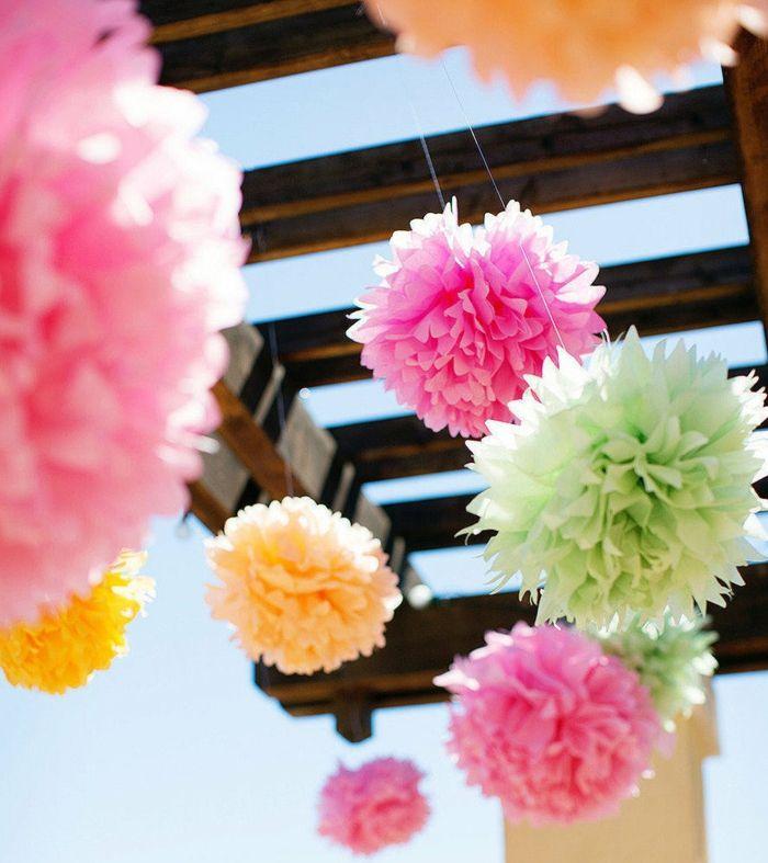 pompoms selber basteln rosa pink pastellfarben grün gelb diy deko - Deko Gartenparty Grun