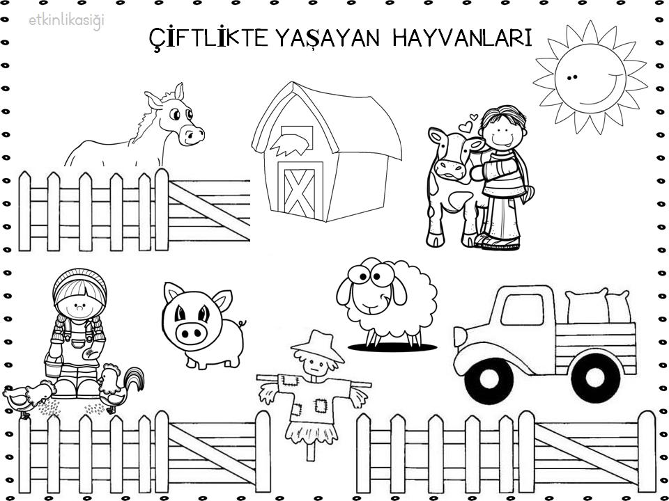 Okul Oncesi Ciftlik Hayvanlary Boyama Boyama Sayfasi