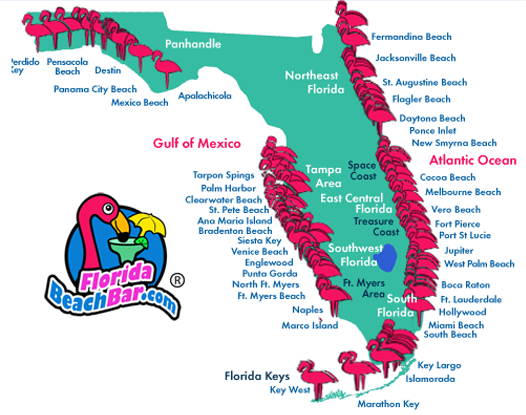 Florida map of all beaches click on an area and a for Map of east coast of florida