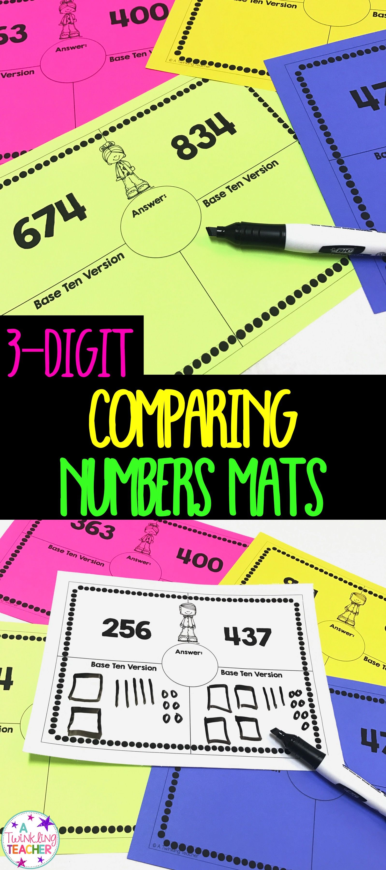 Comparing 3 Digit Numbers Mat