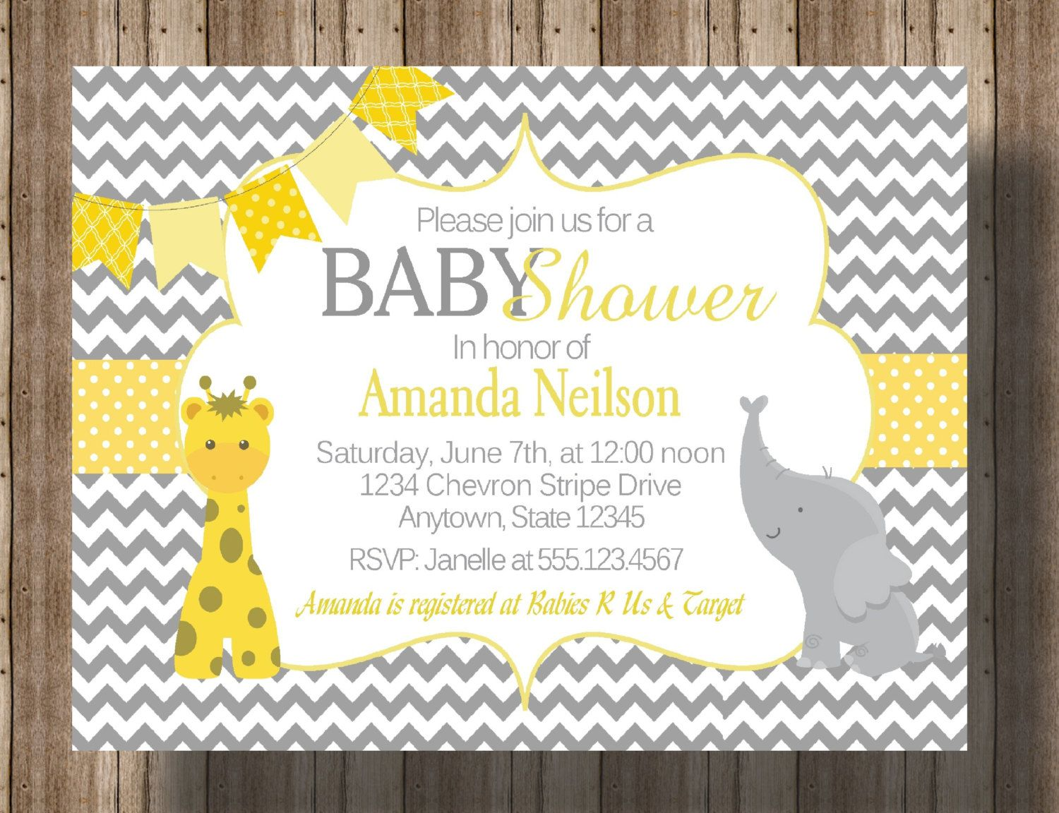 BABY SHOWER INVITATION Chevron Yellow and by traditionsbydonna ...