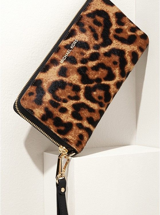 6efb67290f3a Jet Set Travel Leopard Calf Hair Continental Wristlet | THE LADY ...