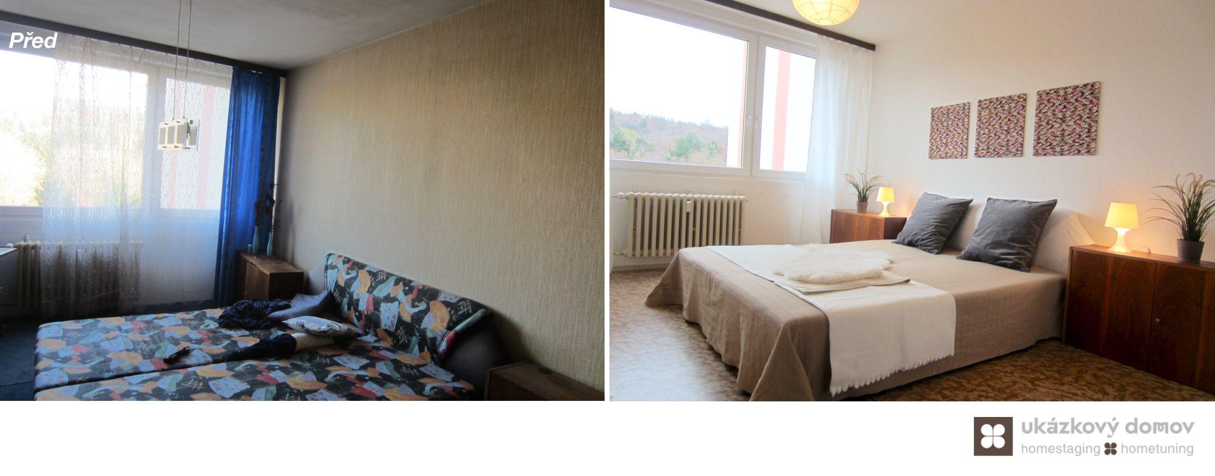 Home Staging částčně zařízeného panelového bytu v Praze Řepích #praha #prague #czech #homestaging #pred #po #before #after #white #walls #panel #retro #master #loznice #bedroom #panelak #cz #praha #czechrepublic #czech #homestagingavantapres
