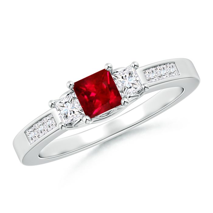 Angara Three Stone Square Ruby and Princess Diamond Ring in 14k Yellow Gold ojKga6HEU