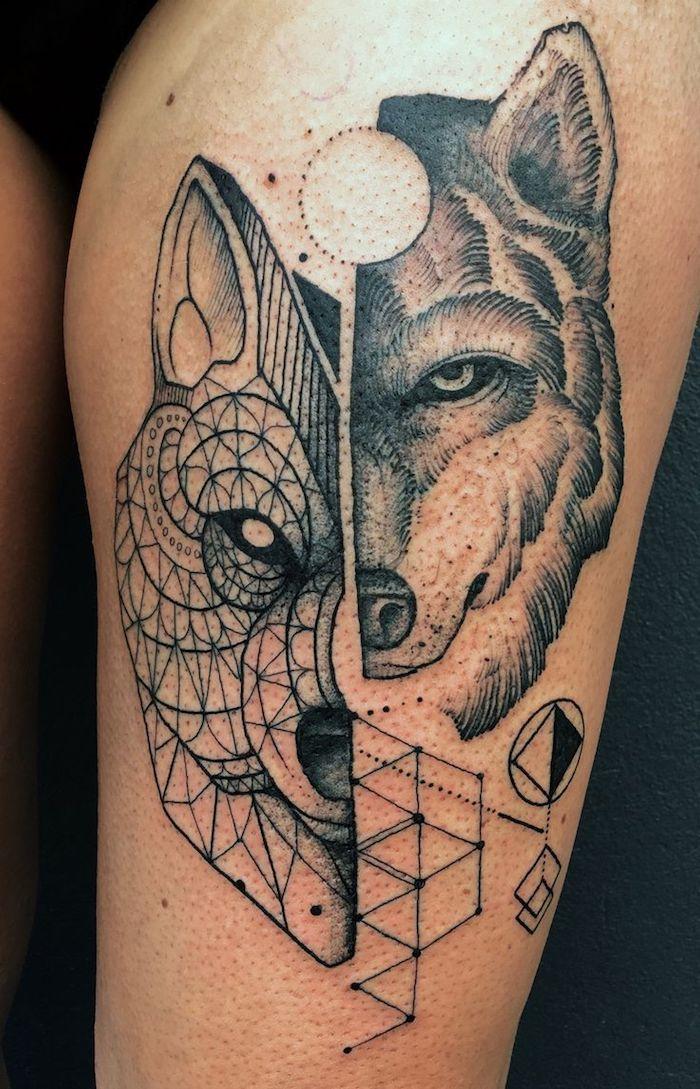 1001 mod les de tatouage loup pour femmes et hommes tattoo designs tattoos geometric wolf. Black Bedroom Furniture Sets. Home Design Ideas