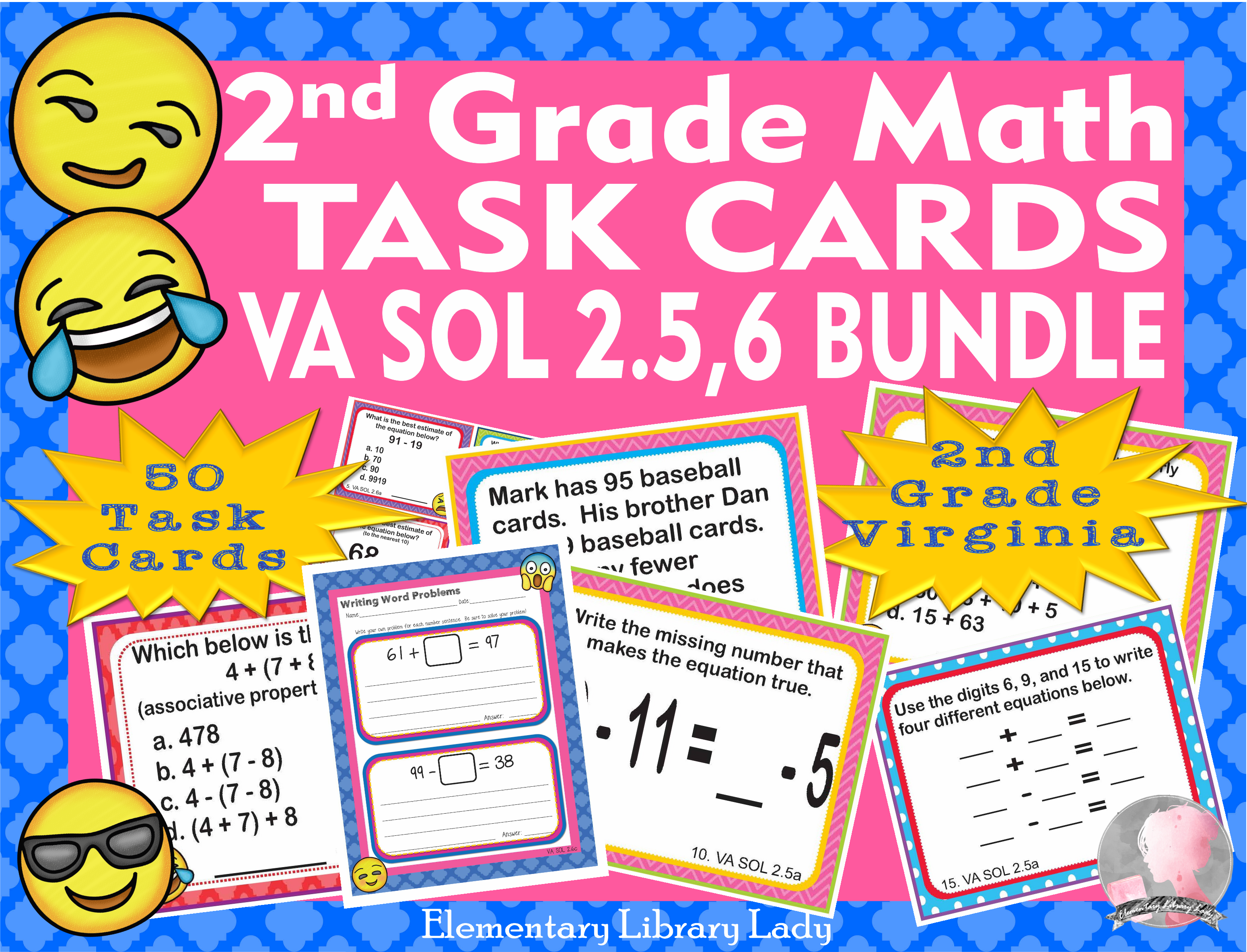 Virginia Sol Math Task Cards Bundle Computation