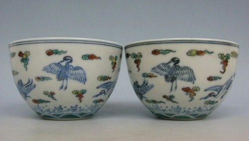 WONDERFUL PAIR CHINESE DOUCAI TEA BOWLS CRANE YONGZHENG 19C | eBay