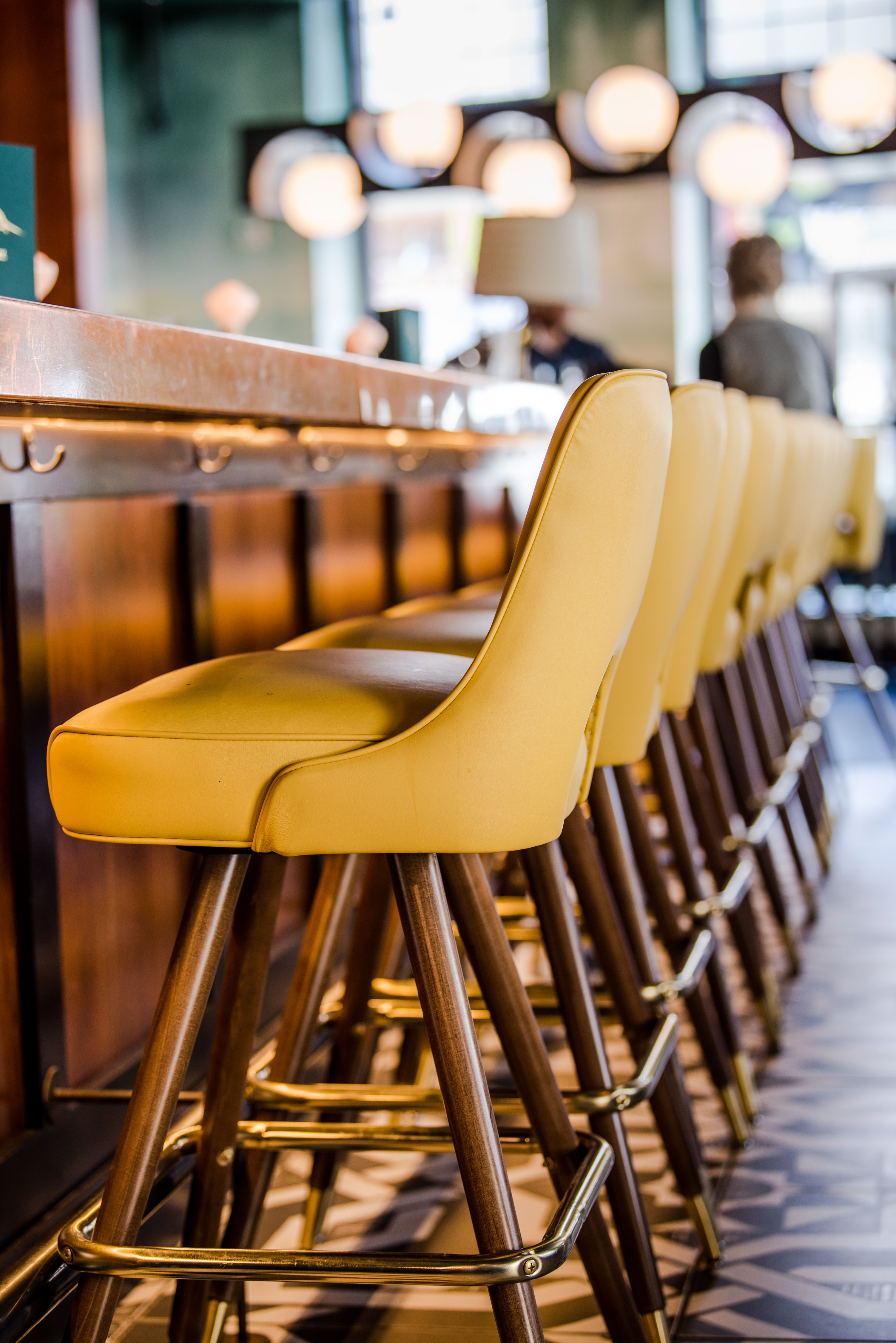 Copper Bar Top And Mcm Gold Bar Stool In Mercy Bar And Dining Room