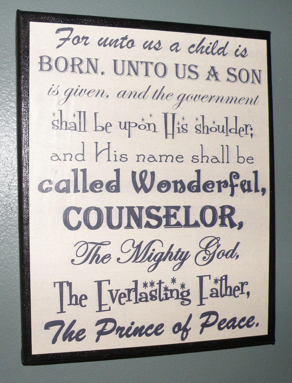 Christmas decoration, mantel, sign, religious picture, Bible verse. $7.00, via Etsy.