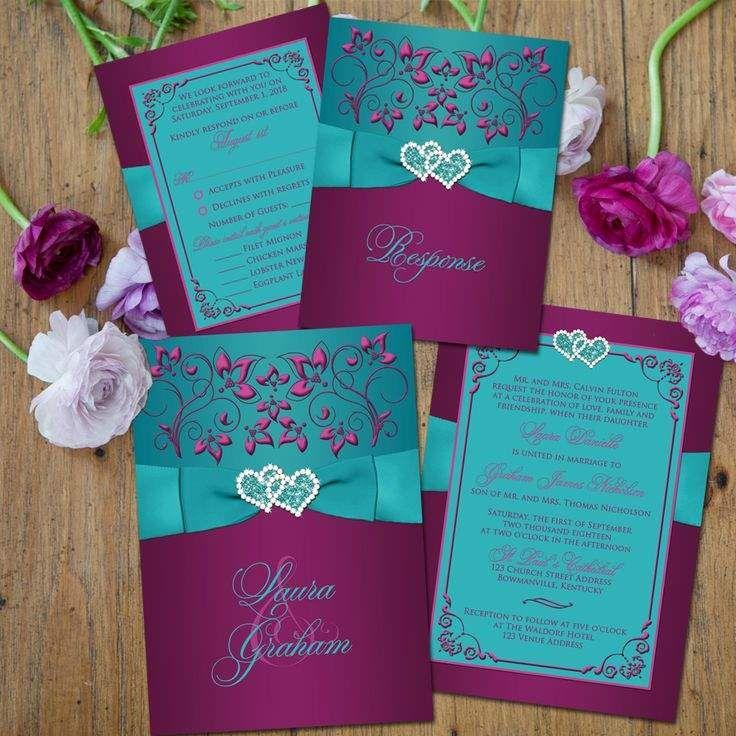 Purple And Teal Wedding Invitations Teal Wedding Invitations