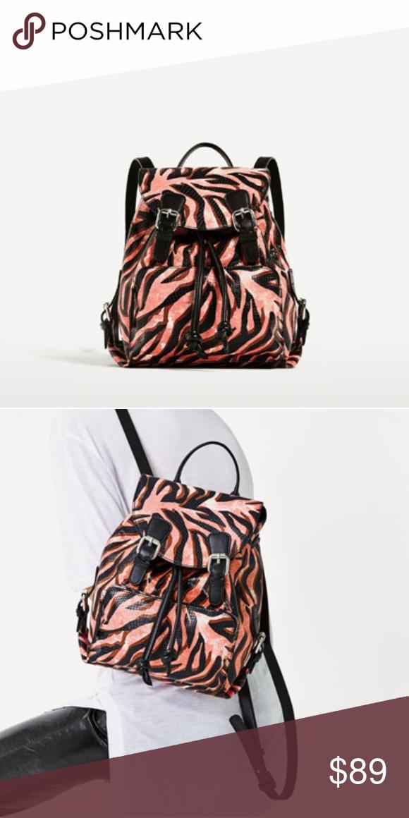 Statement backpack in Zebra print (4080). 100% cow leather. Height x Width  x Depth  11.0 x 10.2 x 5.1″ Zara Bags Backpacks 03d58b4f4a