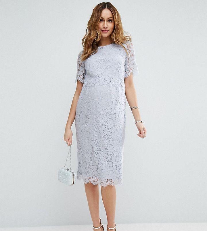 1bca05e197aab ASOS Maternity Lace Crop Top Midi Pencil Dress #afflink   Maternity ...