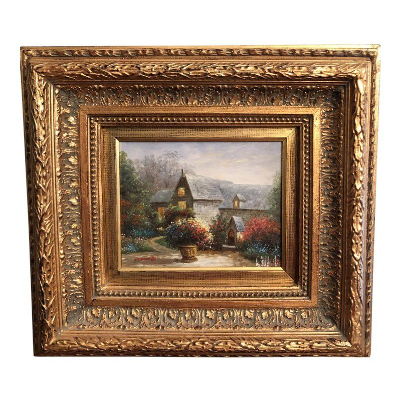 1990s Wooden Framed Oil Painting Painting Antique Oil Painting Framed Oil Painting