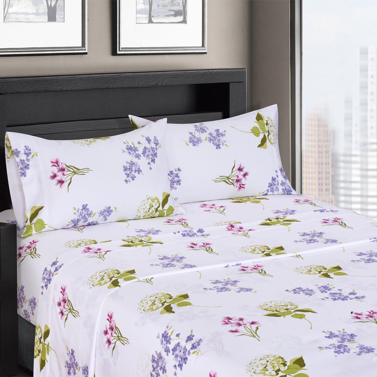 Blossom Floral Sateen Cotton Sheets 4pc CaliforniaKing Bed Sheet