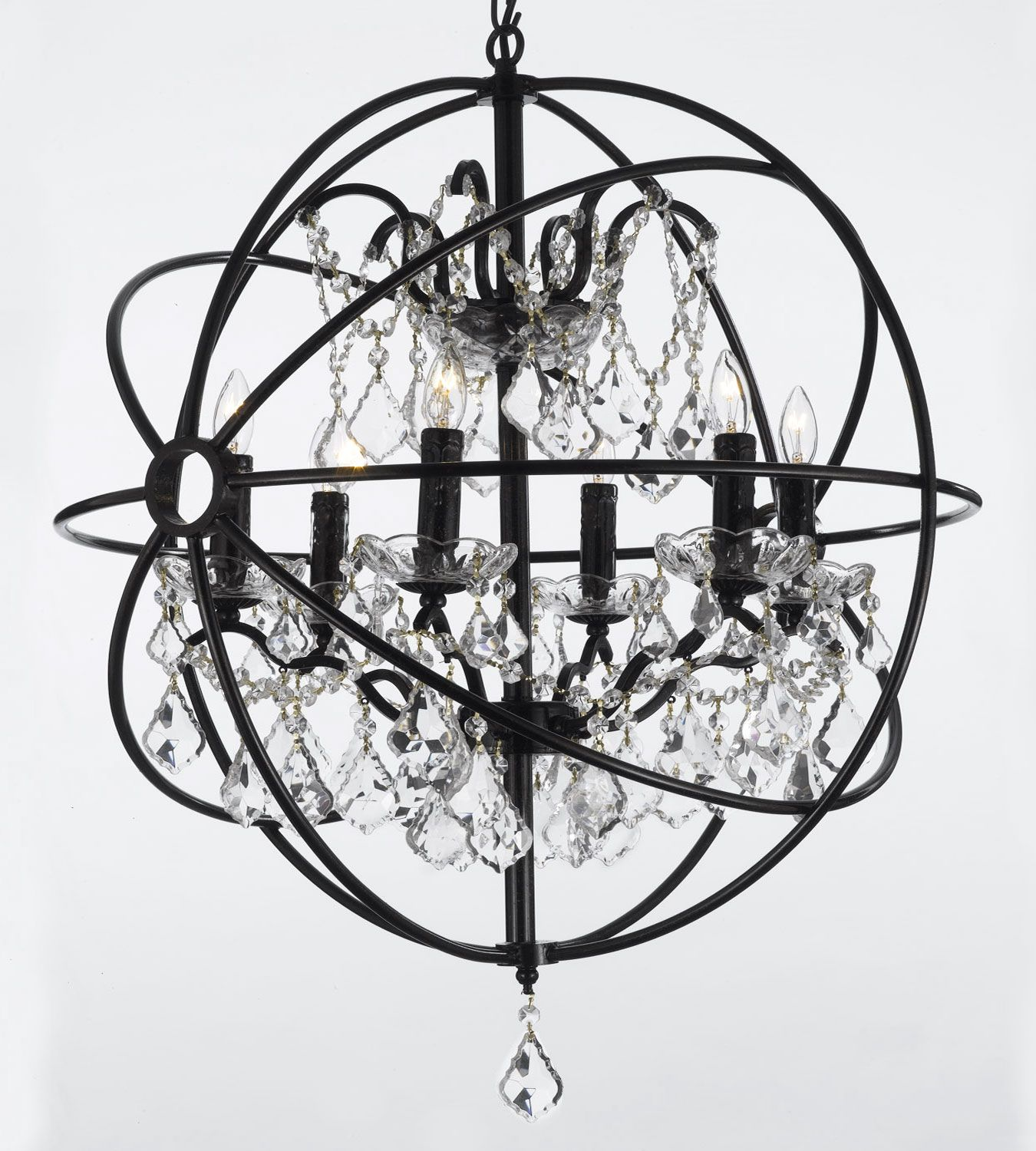 G7 988 6 Wrought With Crystal Iron Orb Chandelier